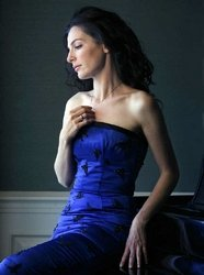 Eyelet Zurer in Elizabeth Mason Couture, Blue Silk strapless with black jet beaded butterflies