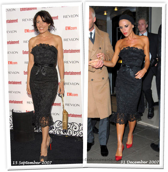 Actress Lisa Edelstein and Victoria Beckham in Elizabeth Mason Couture