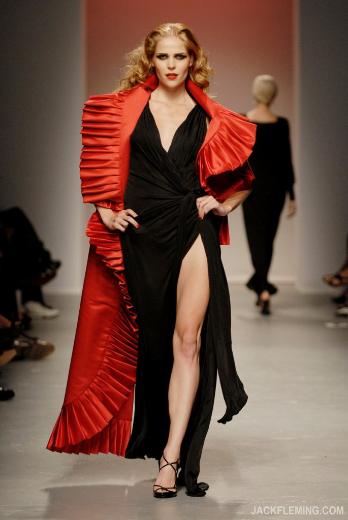 Elizabeth Mason Couture Red Silk Wrap