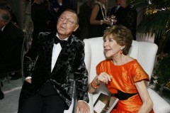 Fashion designer James Galanos with Betsey Bloomingdale at the opening night gala for High Style