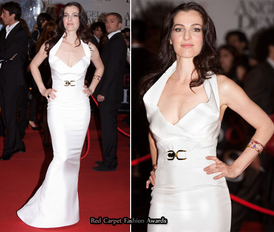 Ayelet Zurer In Elizabeth Mason Couture White Silk Gown at The World Premiere of Angels And Demons, Rome